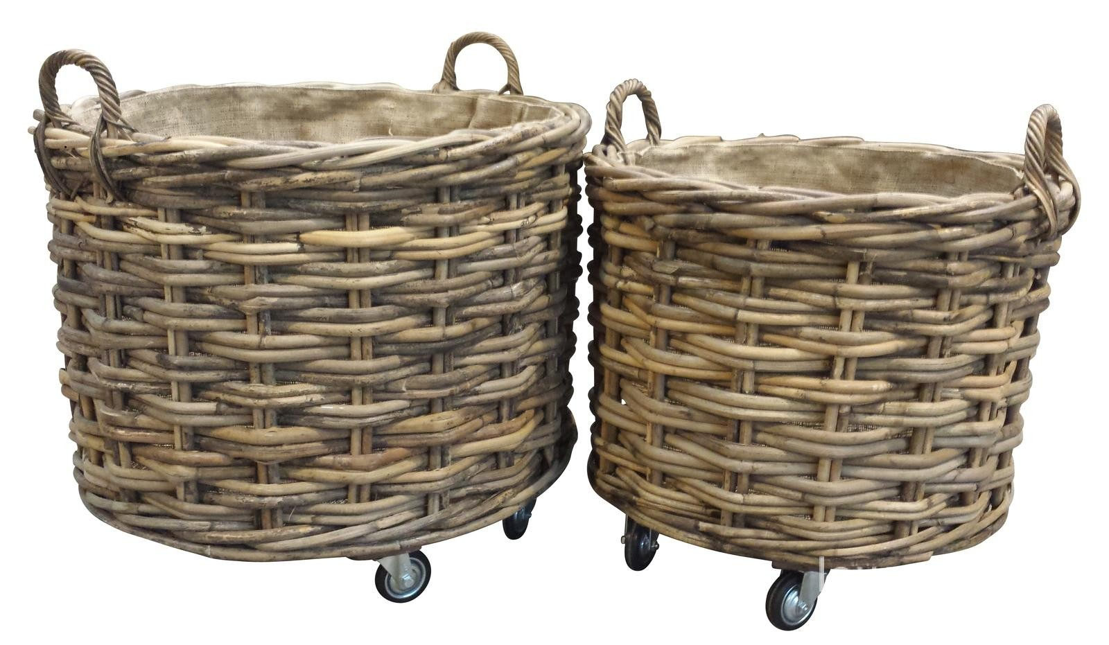 Large Amp Small Square Log Baskets On Wheels A Perfect