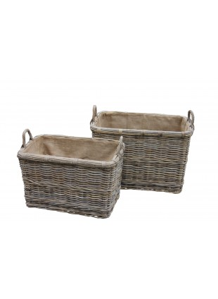Rectangular Log Basket with Wheels