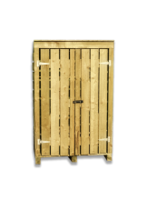 Large wooden log store with doors