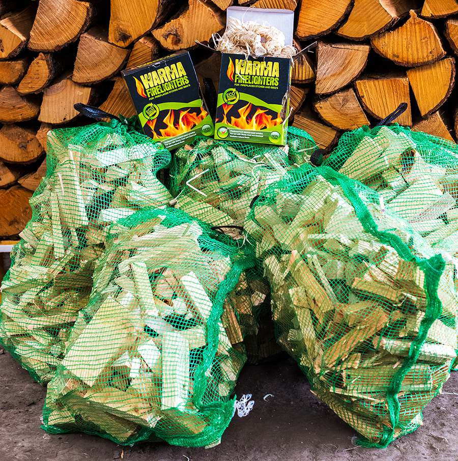 Ready to burn kindling and wood wool firelighters bundle