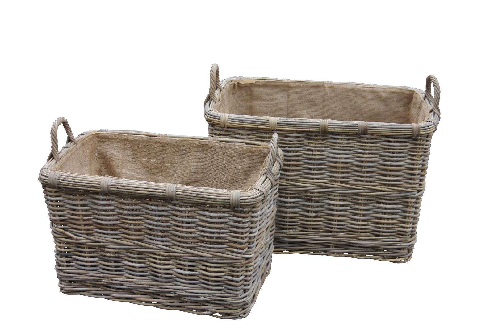rectangular log basket with handles. Black Bedroom Furniture Sets. Home Design Ideas