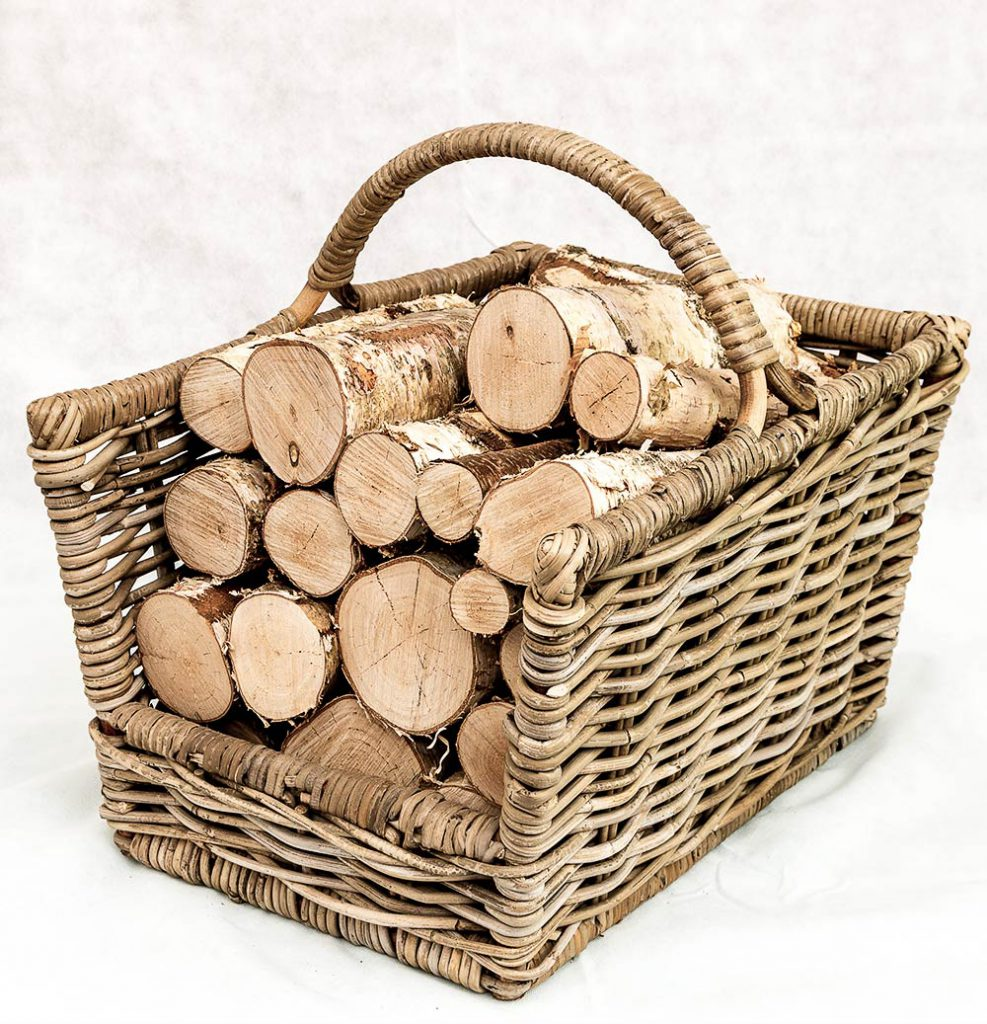 Decorative Logs in basket arrangement from Logs Direct